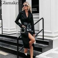 Glamaker Pearl pocket sexy long coat female Black long sleeve belt warm outwear Women autumn winter turndown collar elegant coat