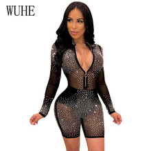 WUHE Sexy Women Mesh Glitter Rhinestones Playsuit Transparent Zipper Jumpsuit Long Sleeve Night Club Bodysuit Dropshipping