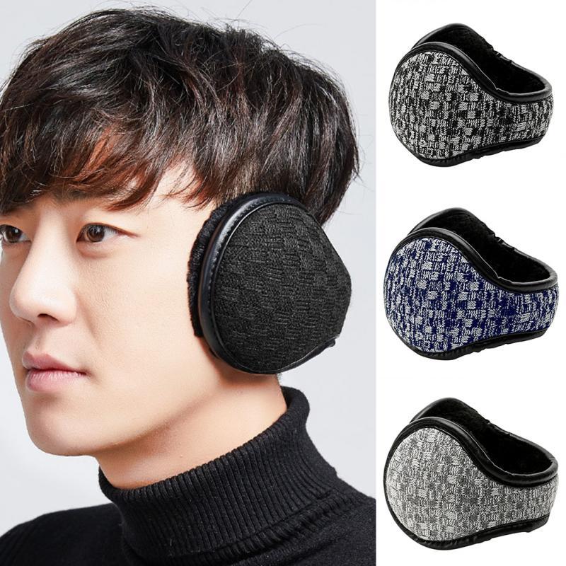 Men Ergonomic Travel Foldable Adjustable Ear Muffs Winter PU Leather Keep Warm