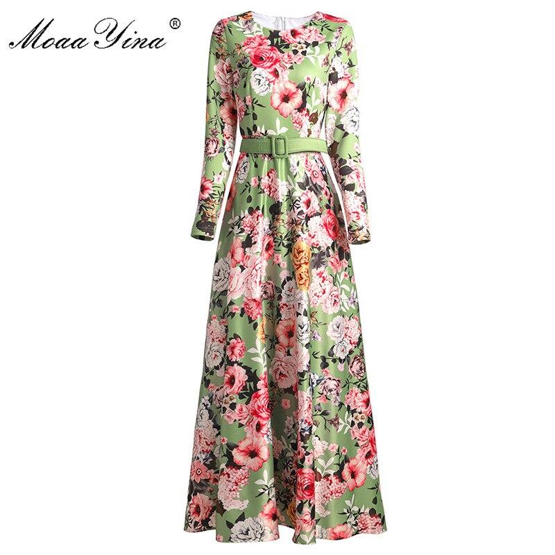 MoaaYina Fashion Designer Dress Spring Autumn Women Dress Long Sleeve Floral-Print Maxi Dresses