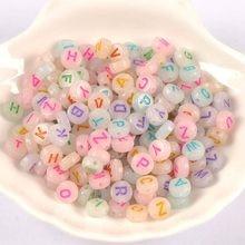 Alphabet acrylique, perles rondes/lettres, lumière nocturne, mélange de 400/200 pièces, pour la fabrication de bijoux, 7mm, YKL0807