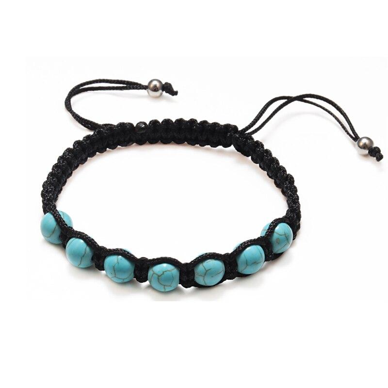 Fashion Natural Stone Blue Turquoises Braided Rope Bracelet For Women Men Handmade Beads Bracelets Friendship Weave Jewelry Gift