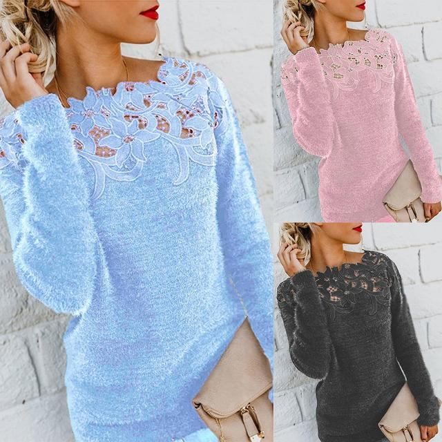 sweater  Autumn and winter ladies lace stitching solid color long-sleeved sweater
