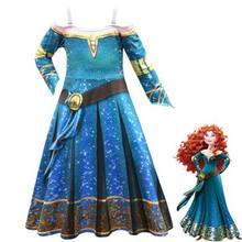 Inverno manga longa fantasia merida princesa vestido gótico crianças disfarce halloween criança lolita menina carnaval traje