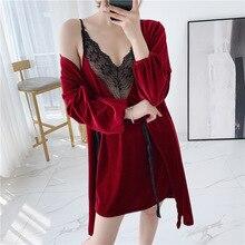 Autumn Winter New Velvet Thicken Robe Set  Lace Sexy Deep V Woman Spaghetti Strap Robe Twinset Bathrobe