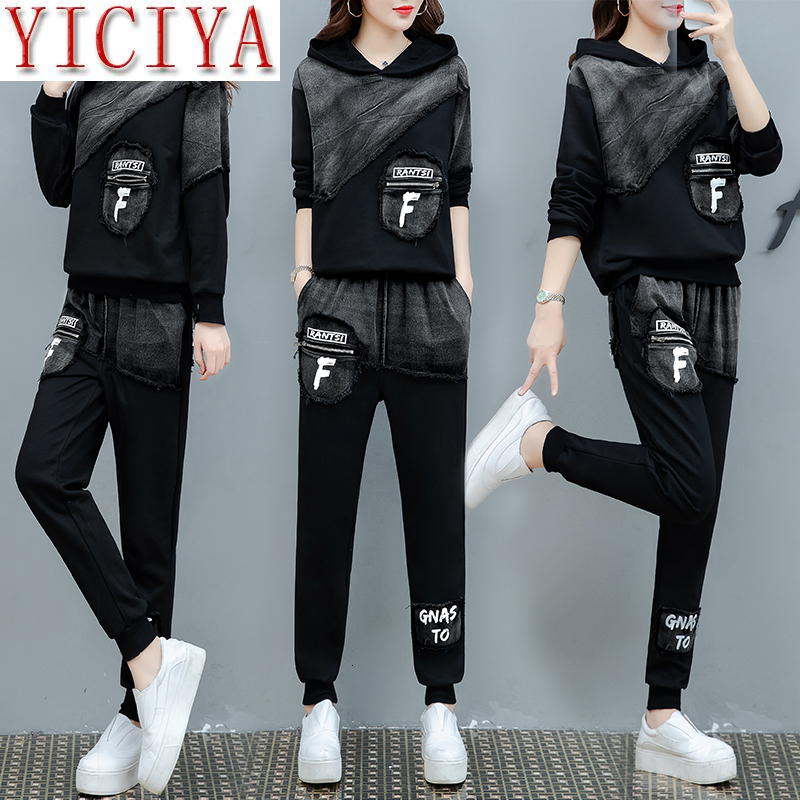 Denim Black 2 Piece Set Tracksuit Women Outfits Hoodies Top And Pants Suits Matching Co-ord Sets Jeans Winter 2piece Clothing