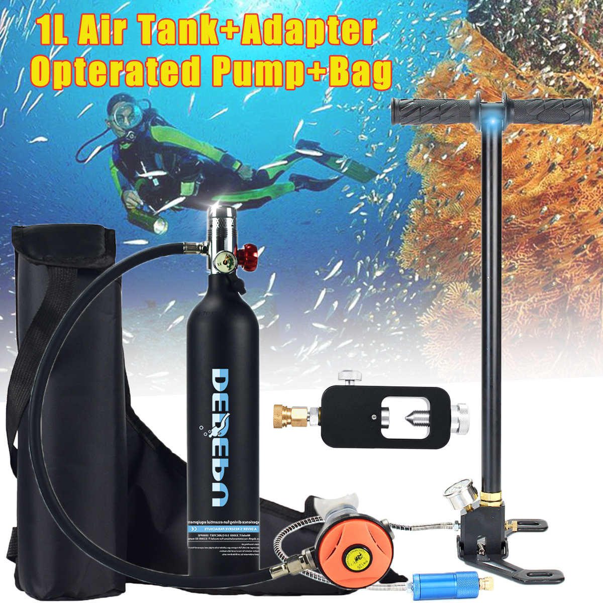 Equipo de Buceo 1L, cilindro de buceo, tanque de oxígeno, respirador, adaptador de repuesto, bomba de alta presión, accesorios de respiración de buceo