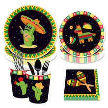 цена Mexican Theme Disposable Tableware Set Paper Plate/Cups/Napkins Mexican Party Decorations Supplies онлайн в 2017 году