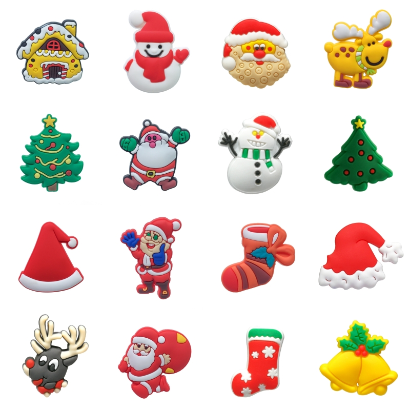 1PCS  Cartoon Merry Christmas Present PVC Shoe Charms Shoe Buckles Shoes Accessories Ornaments Fit For Croc JIBZ Party Gift