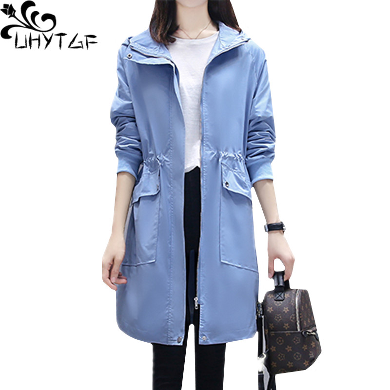 UHYTGF Oversized coat female autumn Windbreaker women Korean hooded fashion spring   trench   coat woman clothes casaco feminino 328