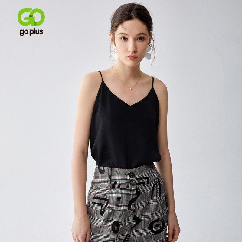 GOPLUS col en v sangle culture grande taille solide Haut décontracté hauts femmes T-shirt sous-vêtements Haut Femme hauts Mujer Verano 2020