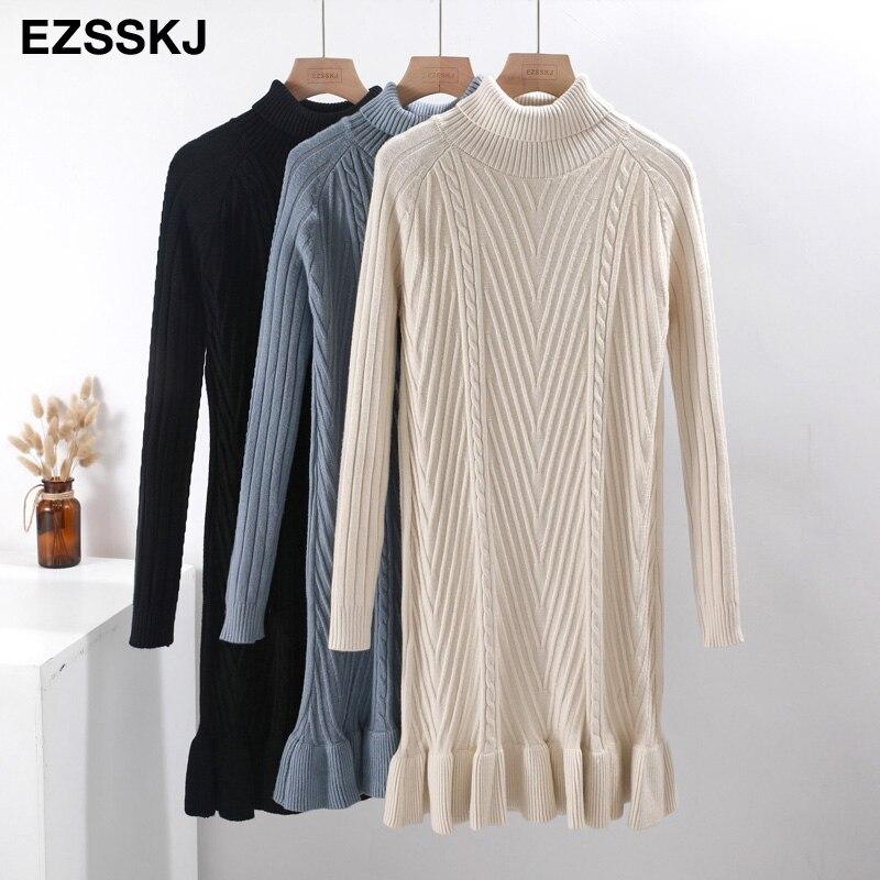 2019 Autumn winter Thick Turtleneck Fishtail sweater dress women basic warm midi sweater dress female 70