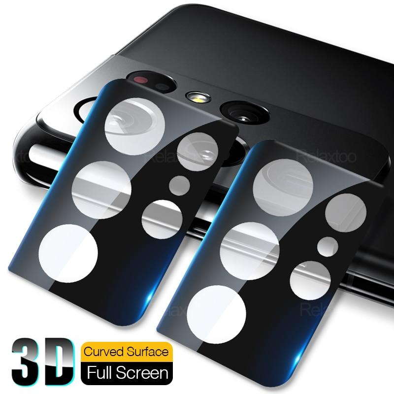 3D изогнутые Автомобильная камера заднего вида с защитным закаленным стеклом крышка для Samsung Galaxy S 21 S21 + S21Ultra S21 ультра плюс полностью Чехол-Бр...
