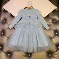 New Princess Lace Dress Girl Luxury Dress Kids Flower Girl Brooch Dress Wedding Party Formal Ball Gown Dress Winter Dress