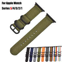 Hot Selling Nylon Nato Woven Sport Watchband for Apple Watch Series 5 4 3 2 1 44/40MM 42/38MM Watch Band Strap for iWatch Wrist