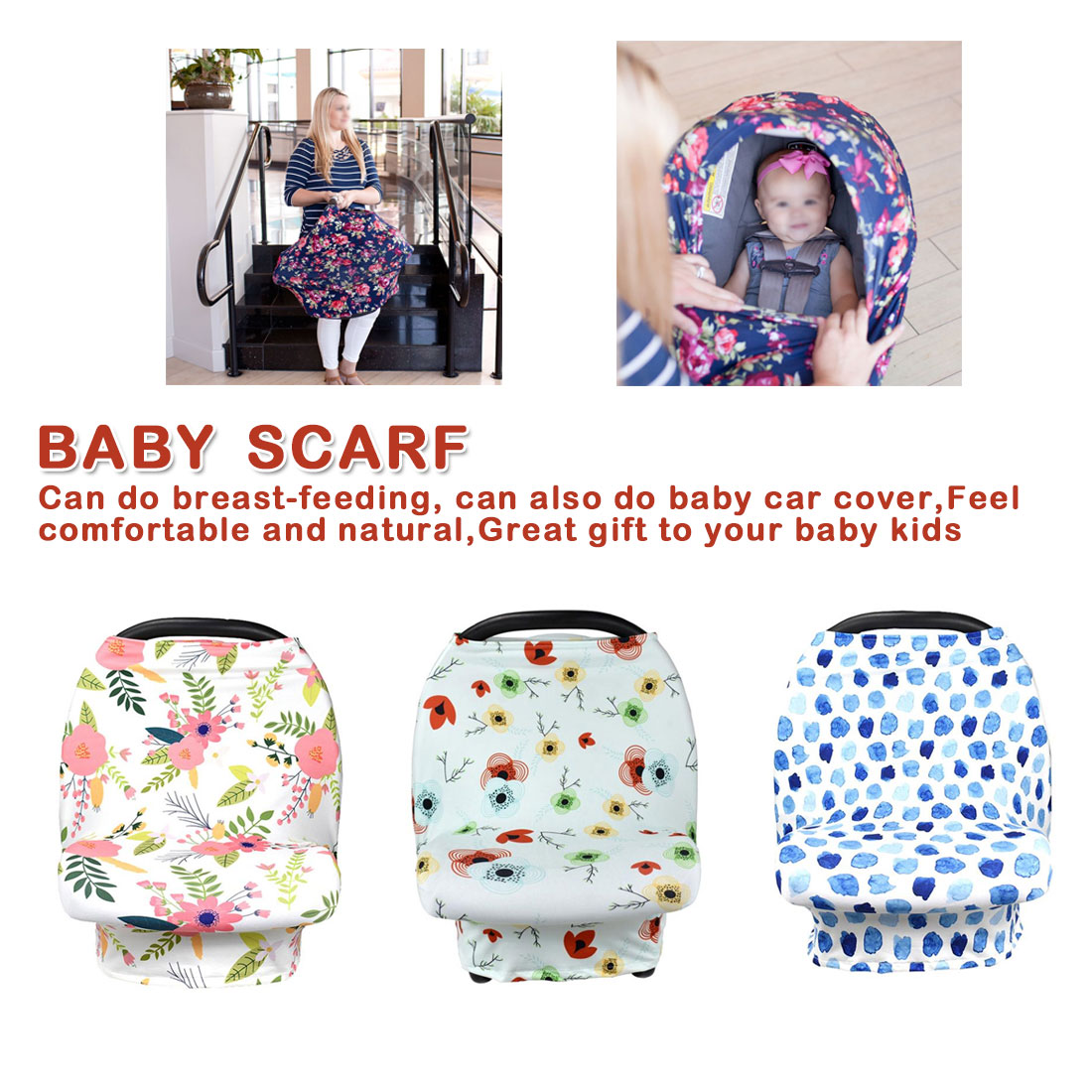 Baby Shopping Cart Cover Carseat Canopy Geometric Floral Multi Use
