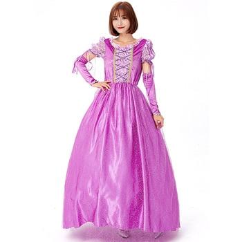 цена Deluxe Purple Cartoon Princess Costume Cosplay For Women Halloween Costume For Adult Carnival Party Dress Up Suit онлайн в 2017 году