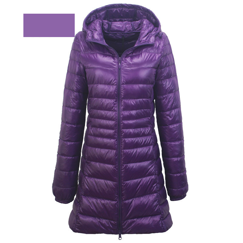 Young Lady Burgundy Duck Down Outwear Full Sleeve Thick Snow-outwear Hooded Winter Warm Down Jacket Large Size 3XL-7XL