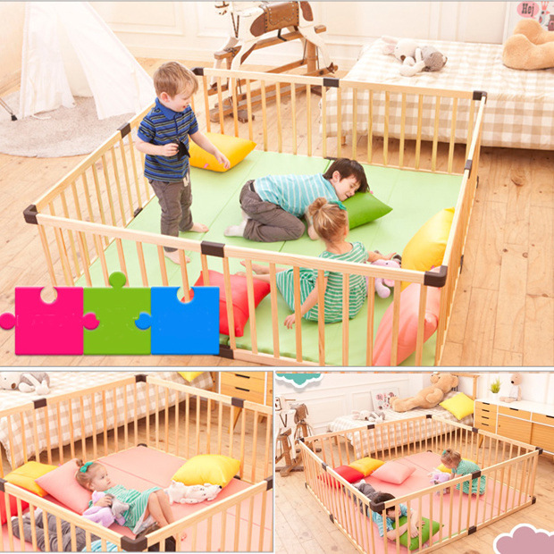 Jollybaby Babies' Game Fence Crawling Guardrail Baby Safe Learner Bar Children Fence Fence Solid Wood