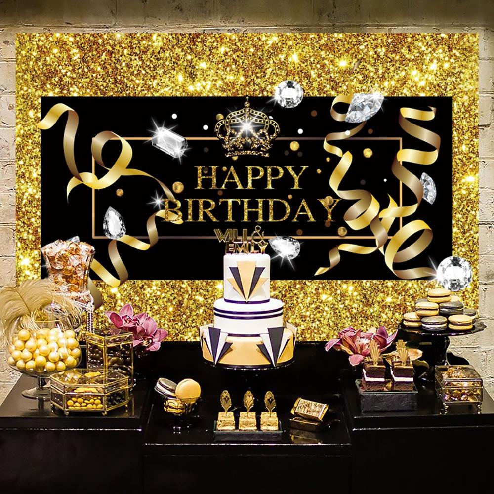 PATIMATE Black Gold Backdrop Happy 30 40 50 <font><b>Birthday</b></font> <font><b>Party</b></font> Decoration Adult 30th <font><b>Birthday</b></font> 40th <font><b>50th</b></font> <font><b>Party</b></font> Decor supplies image