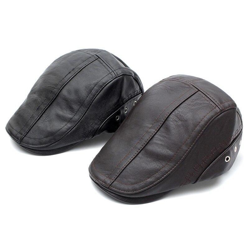 Automne hiver PU cuir Golf béret casquette réglable chapeaux hommes Cowboy chapeau conduite été plat Cabbie gavroche casquettes