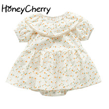 Summer Baby Bodysuit Plaid Short Sleeve Skirt Floral Cotton Creeper With Ruffles