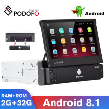 Podofo Android Autoradio lettore multimediale GPS Autoradio 1 Din 7 ''schermo retrattile WiFi Bluetooth MP5 1 DIN lettore multimediale