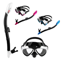Adult Silicone Glass Swimming Diving Anti Fog Goggles Scuba Mask and Snorkel Set for GoPro Action Camera