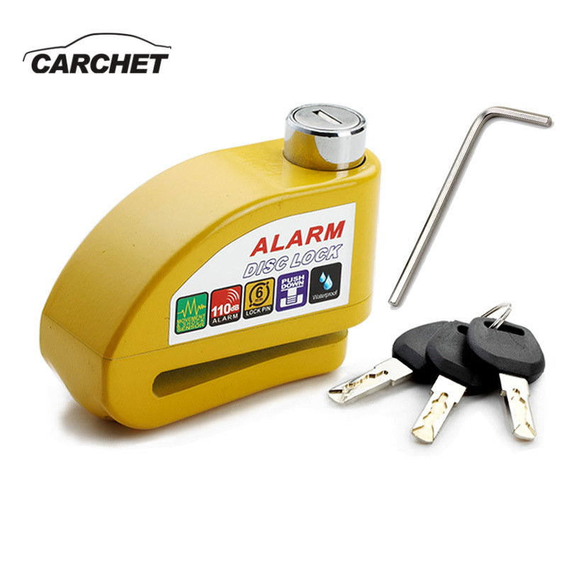 CARCHET Waterproof Motorcycle Alarm Lock Bike Lock Security Anti-theft Lock Moto Disc Brake Lock +3 Keys+Hexagon Screwdriver