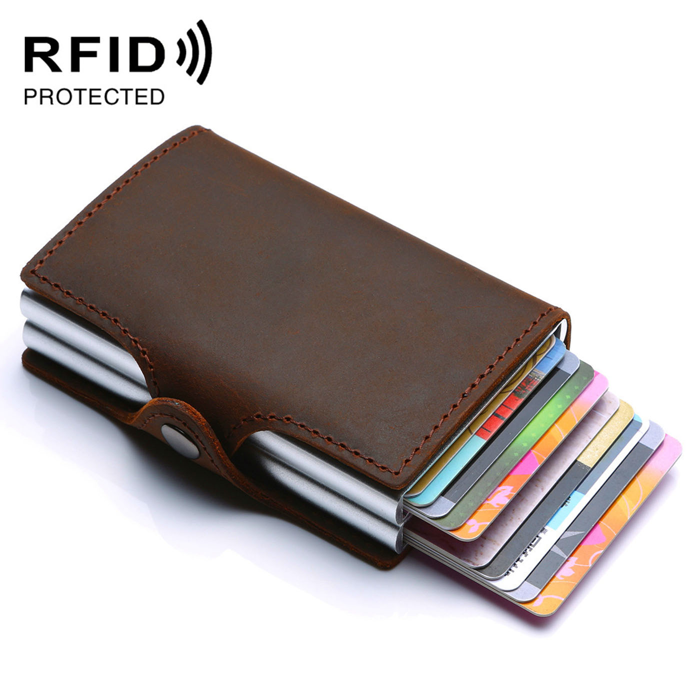 2019 Unisex Double Card Holder Genuine Leather RFID Vintage Purse Crazy Horse Leather Rfid Aluminium Credit Business Men Wallets
