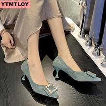 2019 spring and autumn new ladies square head high-heeled shoes stiletto suede sexy high heels pointed