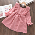 Girls Princess Dresses Toddler Girl Spring Ruffles Fancy Clothing Long Sleeve Children Solid Color Party Vestidos