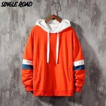 SingleRoad Mens Hoodies Men 2020 Side Striped Patchwork Hip Hop Oversized Japanese Streetwear Orange Hoodie Men Sweatshirt Male
