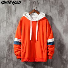 SingleRoad degli uomini Felpe Gli Uomini 2020 Lato A Righe Patchwork Hip Hop di Grandi Dimensioni Giapponese Streetwear Arancione Con Cappuccio Da Uomo Felpa Maschio