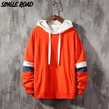 Singleroad Mannen Truien Mannen 2020 Side Striped Patchwork Hip Hop Oversized Japanse Streetwear Oranje Hoodie Mannen Sweatshirt Mannelijke