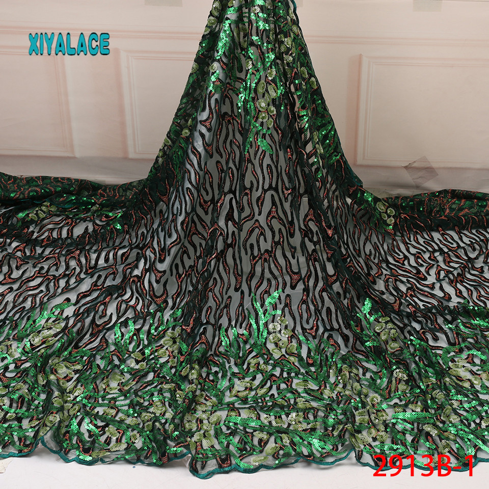 African Lace Fabric 2019 High Quality African Lace Fabric With Sequins French Lace Fabric For African Women YA2913B-1