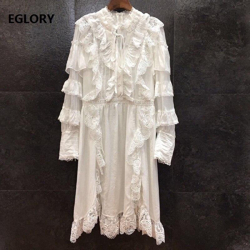 Vestido de pasarela de diseñador de alta calidad 2020 primavera para mujer Vestidos de encaje bordado Patchwork manga larga blanco negro