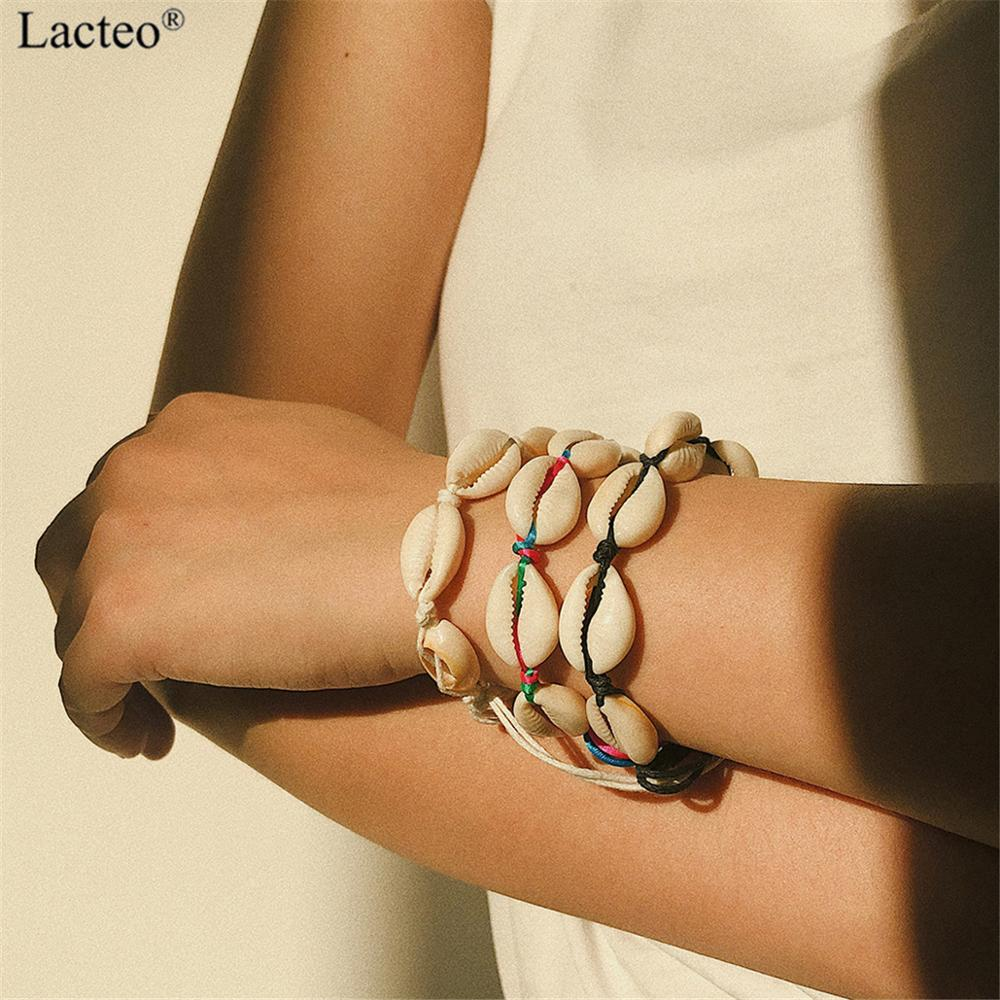 Lacteo Bohemian Natural Shell Charm Bracelet Women Adjustable Colorful Rope String Bangle Female Accessories Jewelry