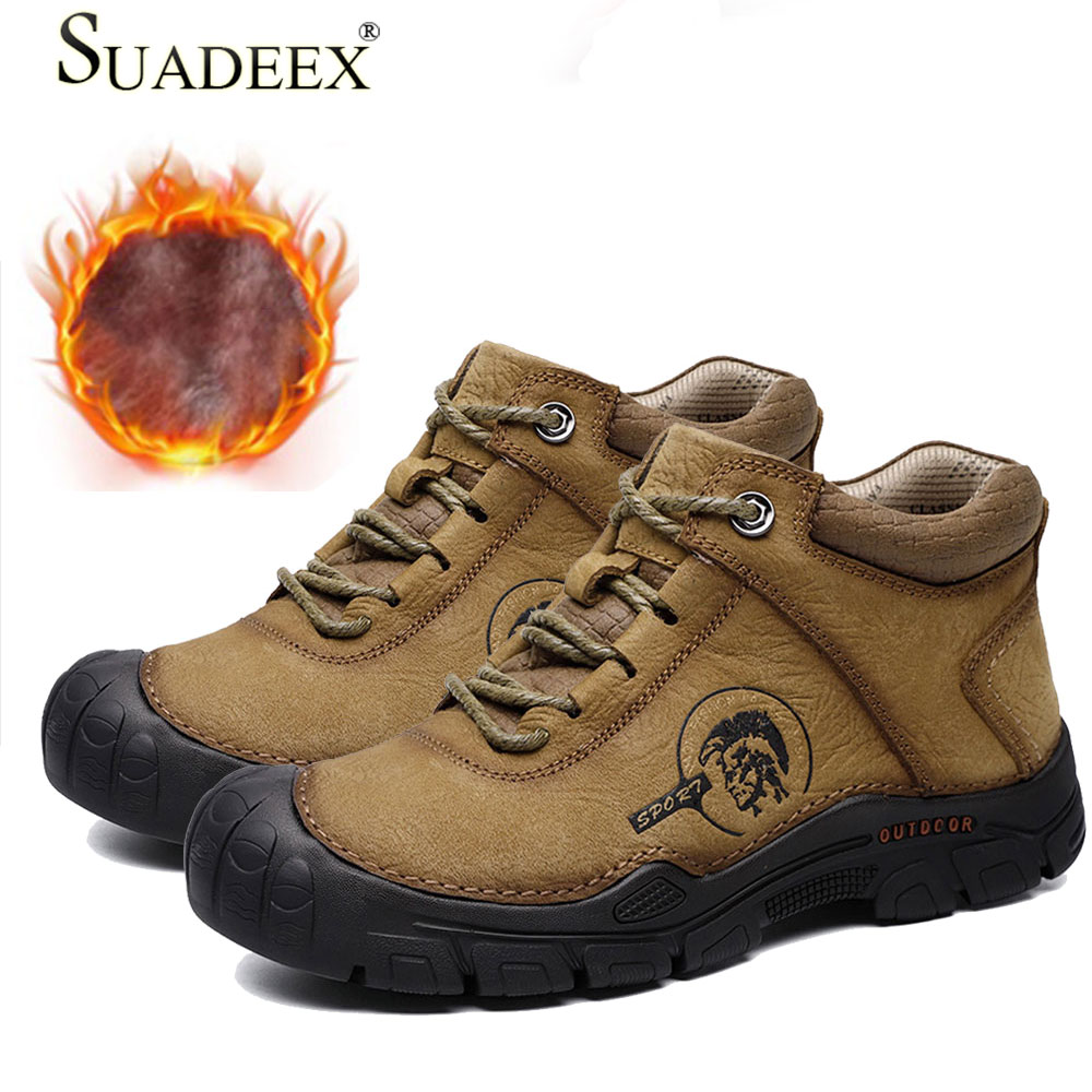 SUADEEX Keep Warm Winter Men Shoes High Quality Genuine Leather Casual Outdoor Men Shoes With Plush Handmade Fashion Footwear