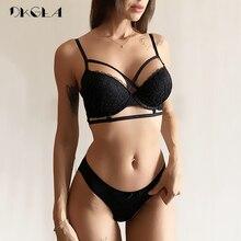 탑 섹시 속옷 세트 코튼 얇은 브래지어 딥 브이 브래지어와 팬티 세트 블랙 레이스 자수 브래지어 여성 란제리 세트