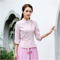 Women Chinese Blouse Pink Cotton Qipao Tops Long Sleeve Embroidery Plum Flower Chinese Style Blouse Classic Traditional Blouse