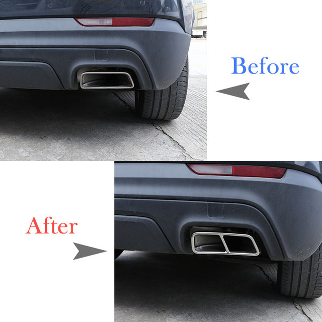 2pcs Stainless Steel Car Pipe Throat Exhaust Outputs Tail Frame Cover Trim For Cadillac XT5 XT4 2016-2018 Muffler Accessories 2