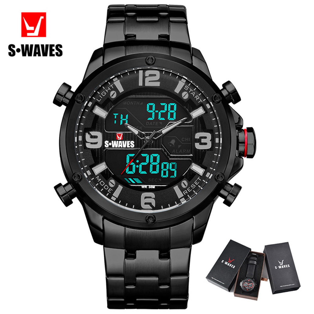 SWAVES Fashion Luxury Watch Men Stainless Steel Waterproof Quartz Wristwatch Mens With Box Electronic Clock Army Relojes Hombre
