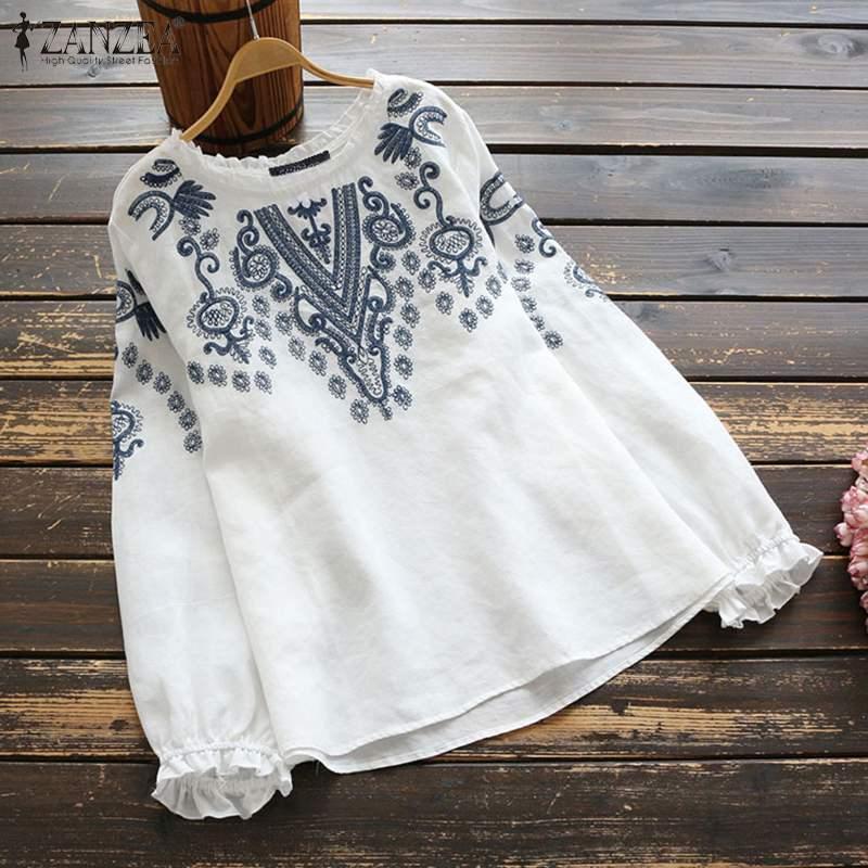 Women Vintage Embroidery Blouse ZANZEA Spring Long Sleeve Ruffles Tops Casual O Neck Cotton Linen Blusas Femininas Shirt Mujer