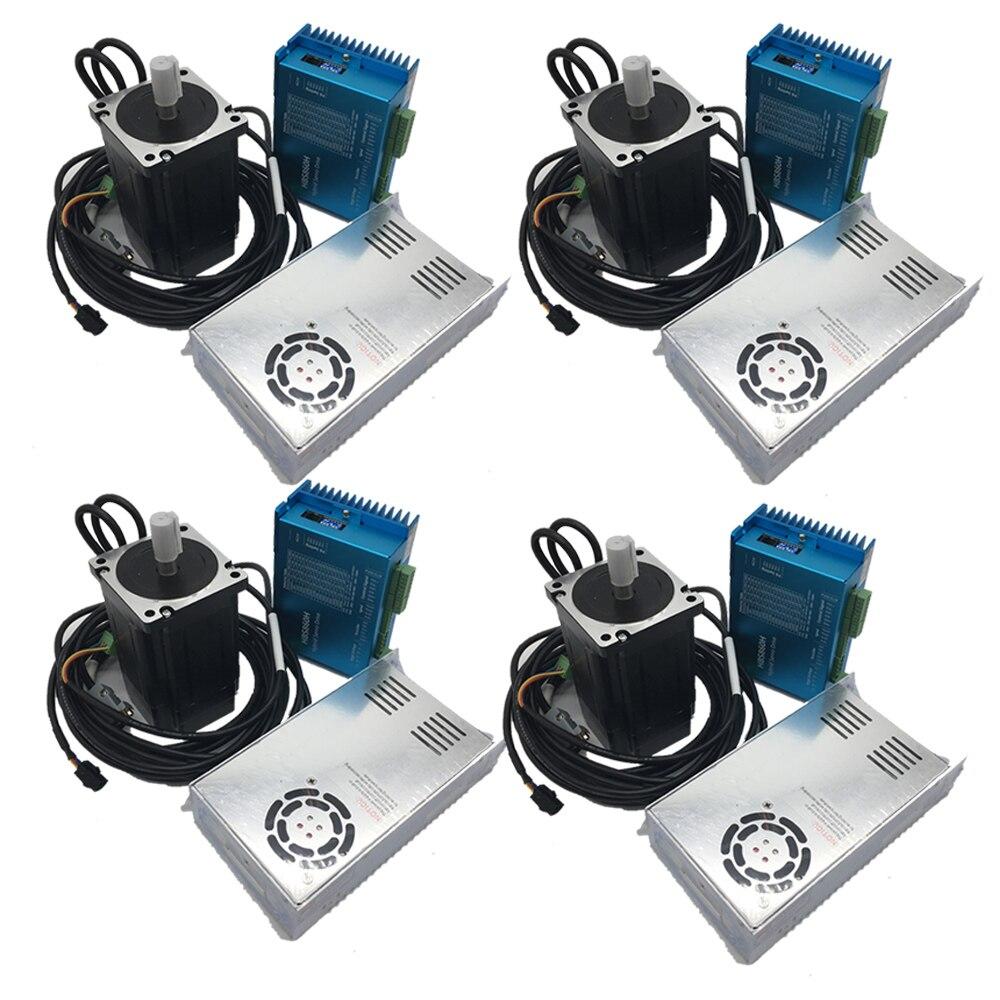 4PCS 12Nm Nema34 86 MILLIMETRI AC DC DSP Ad Anello Chiuso Stepper Driver Del Motore e 400W 60V DC alimentazione Hybird Encoder Facile Passo Servo Kit