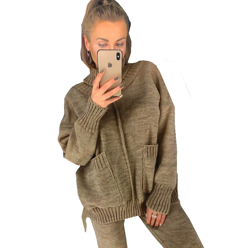 TAOVK Women Autumn Knitted Suits Mid Lined Turtleneck Sweater And Knit Pant Female 2 Piece Set