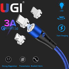 цена на UGI LED Nylon Braided Magnet Charging IOS Mobile Phone Cable USB Cord 2M/1M Fast Charger For iphone 11 XS XR 8 7 Data Sync Cable