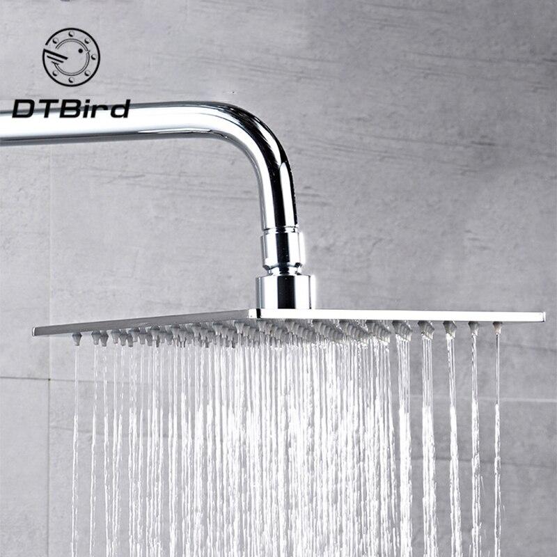 20x20cm 8 평방 스테인레스 스틸 비 샤워 헤드 강우량 욕실 상단 분무기 얇은 고압