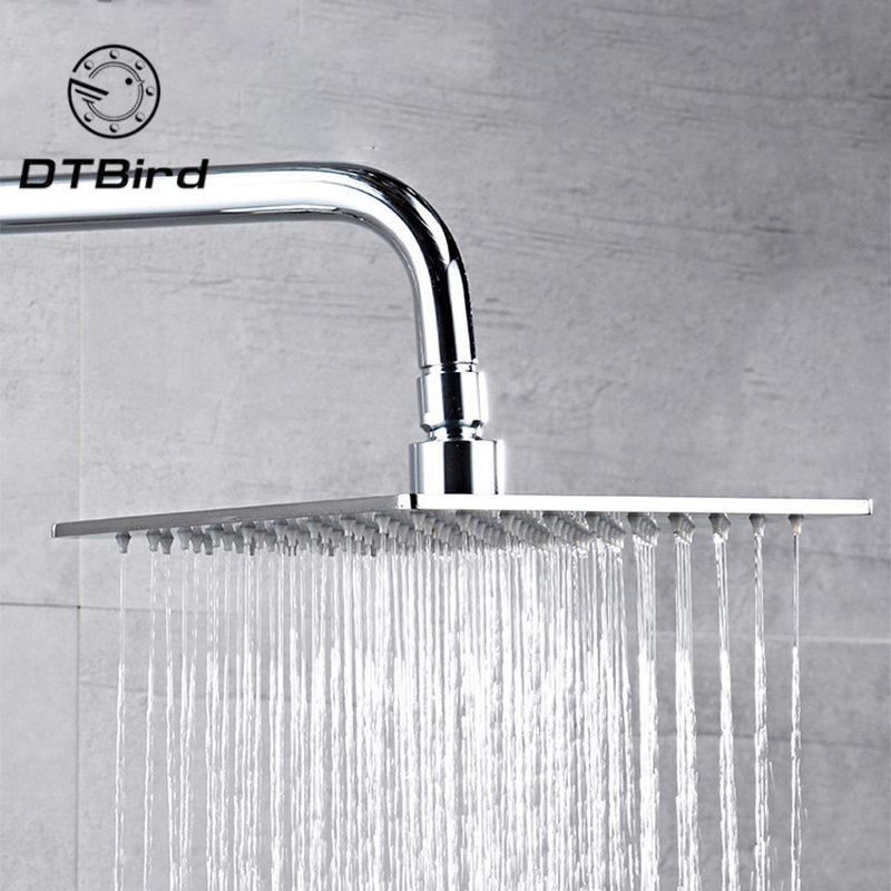 20x20cm 8 Square Stainless Steel Rain Shower Head Rainfall Bathroom Top Sprayer Thin High Pressure