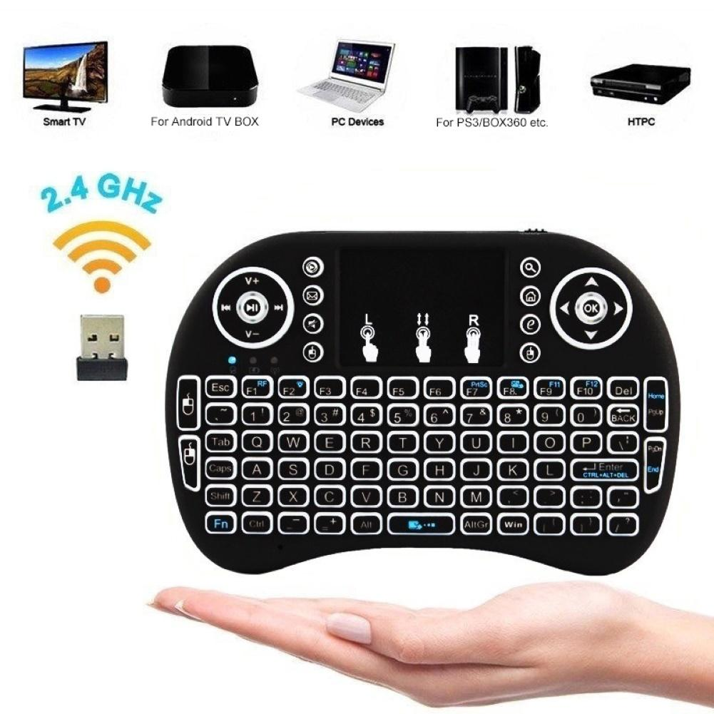 3 Colors Backlight Mini Wireless Keyboard 2.4GHz Touchpad Remote Control Mechanical Keyboard Mouse For Mini Smart Android TV Box